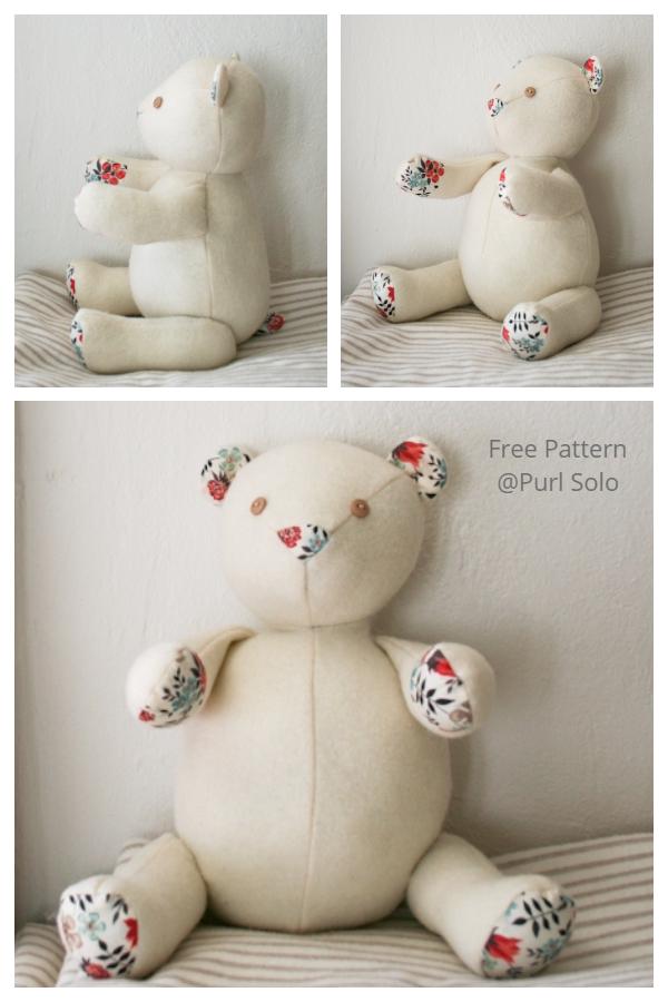 DIY Fabric Liberty Teddy Bear Free Sewing Patterns + Tutorials