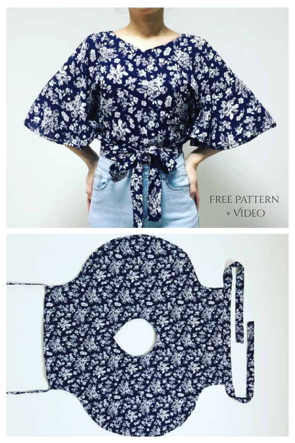 DIY One-Piece Butterfly Summer Wrap Top Free Sewing Patterns + Video