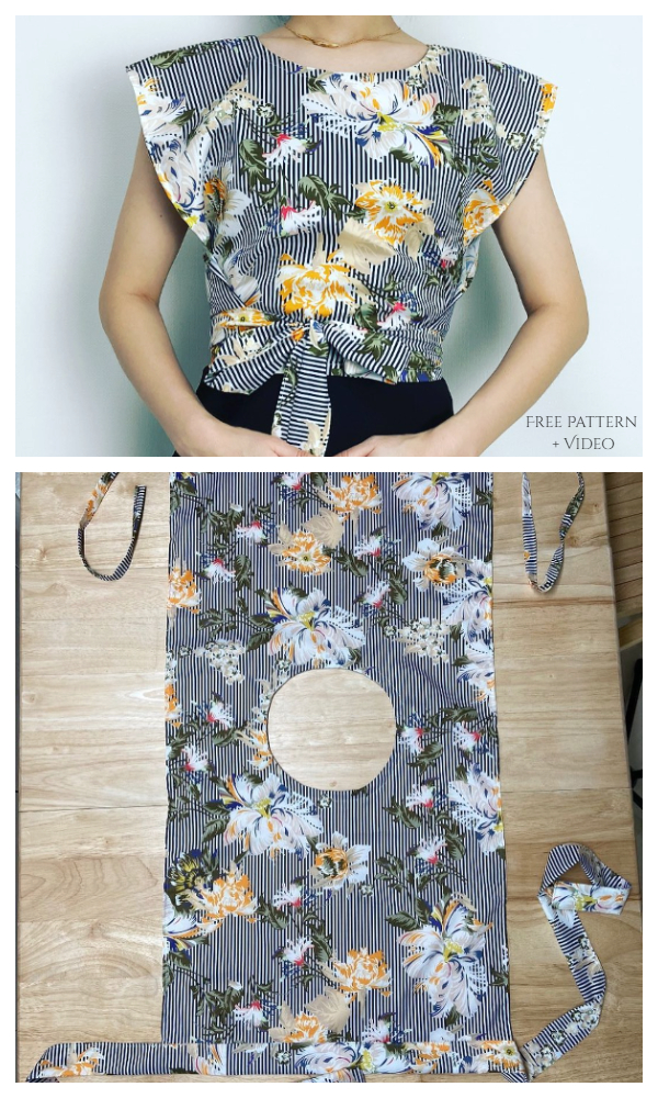 DIY One-Piece Rectangle Summer Wrap Top Free Sewing Patterns + Video