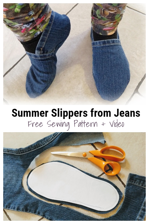 DIY Recycled Summer Jean Slippers Free Sewing Pattern + Video