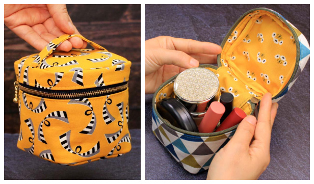 DIY Fabric Cube Makeup Zipper Pouch Free Sewing Pattern + Video