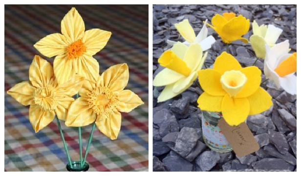 DIY Fabric Daffodils Flower Free Sewing Patterns in 3 Ways