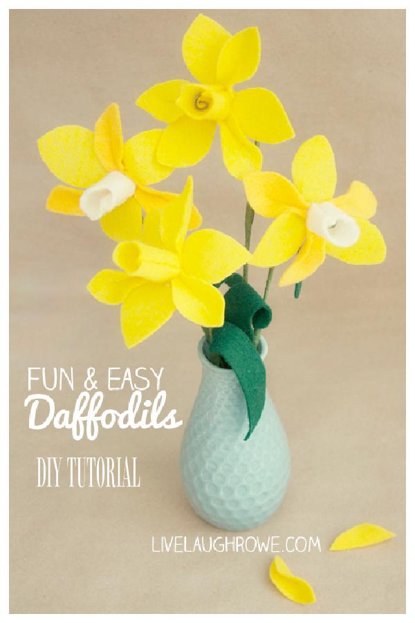 DIY Felt Daffodils Flower Free Sewing Patterns