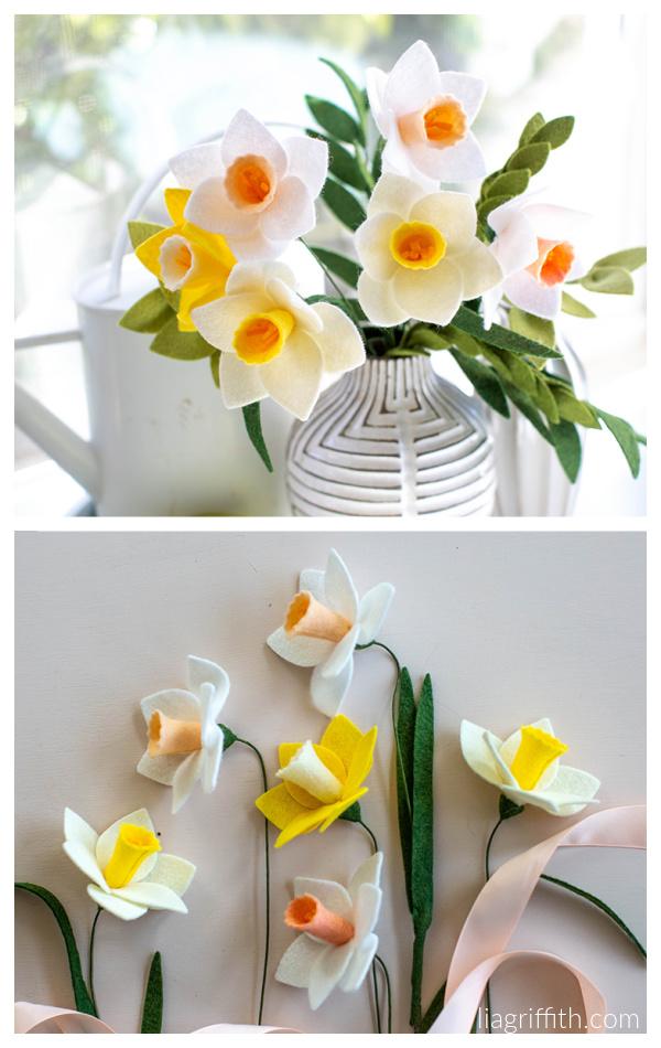 DIY Felt Daffodils Flower Sewing Patterns