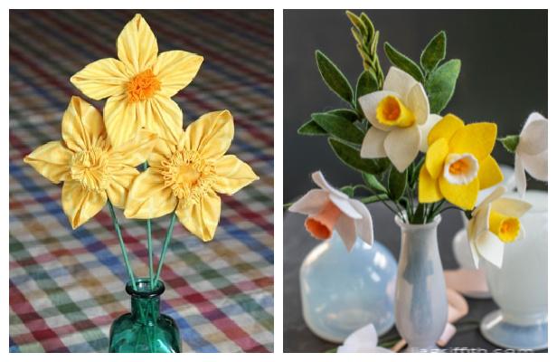 DIY Fabric Daffodils Flower Free Sewing Patterns