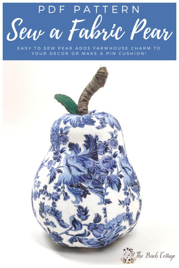 DIY Fabric Pear Free Sewing Pattern