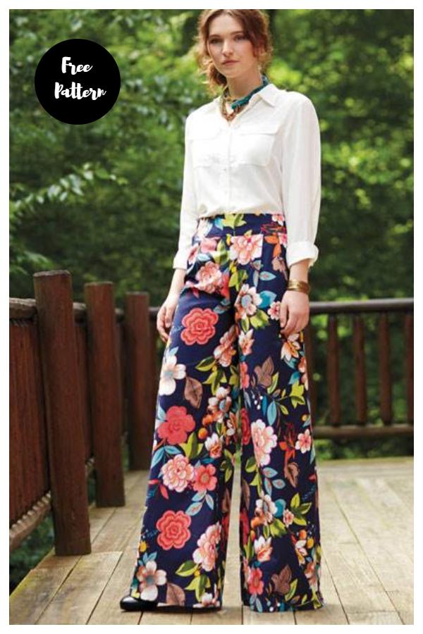 DIY Fabric Wide-leg Pants Free Sewing Patterns