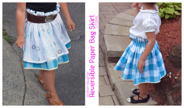 DIY Mom&Me Reversible Paper Bag Skirt Free Sewing Pattern