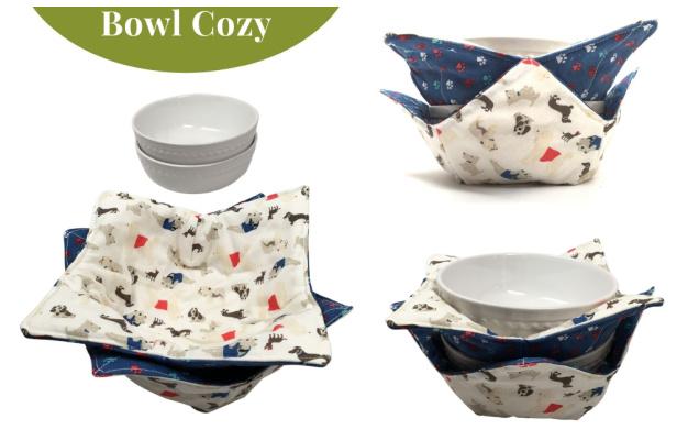 DIY Reversible Microwave Safe Bowl Cozy Free Sewing Pattern