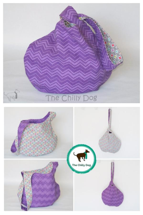 DIY Fabric Reversible Japanese Knot Bag Free Sewing Patterns