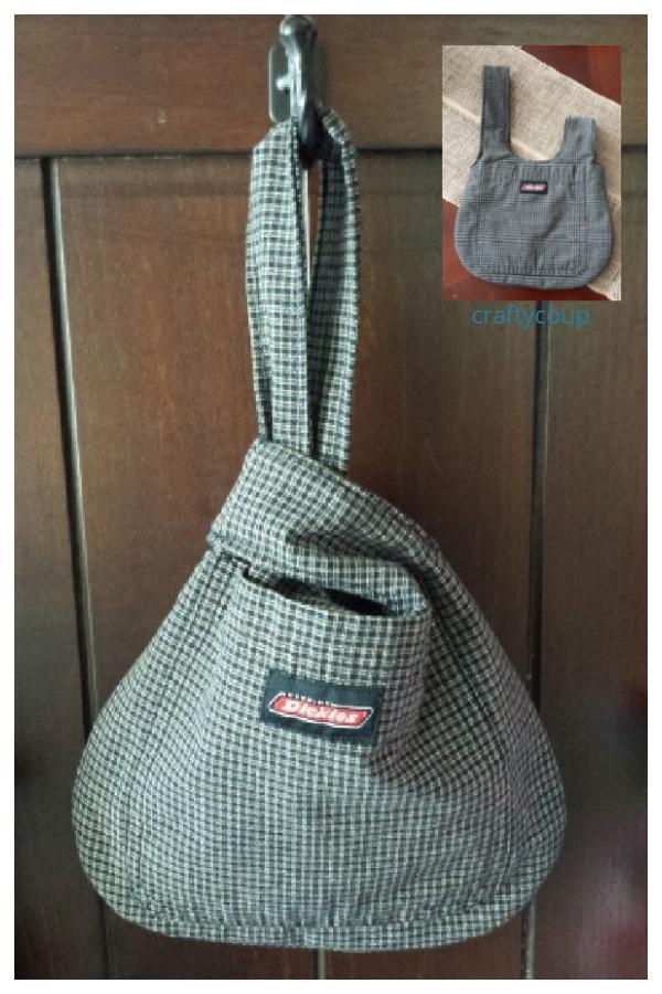 DIY Upcycled Men's Shirt Japanese Knot Bag Free Sewing Patterns