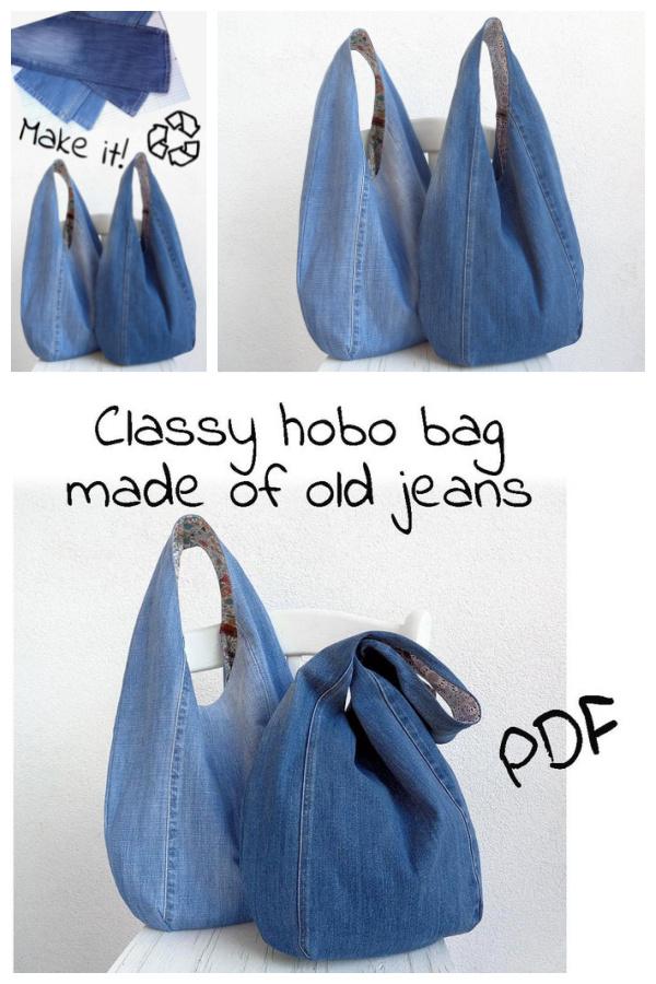 DIY Slouchy Jean Bag Sewing Patterns
