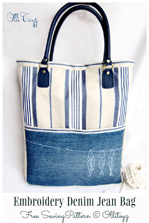 DIY Embroidery Jean Bag Free Sewing Patterns