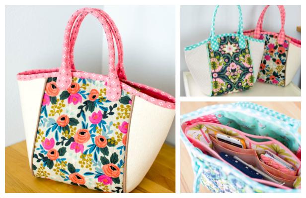 DIY Fabric Basket Tote Bag Free Sewing Pattern