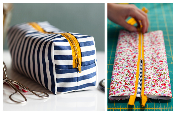 DIY Fabric Boxy Make-up Bag Free Sewing Pattern