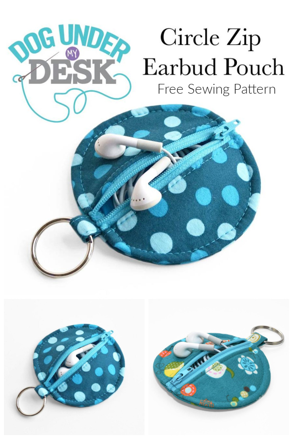 DIY Fabric Circle Zip Earbud Pouch  Free Sewing Patterns