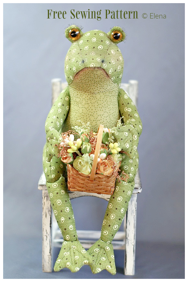 DIY Fabric Sitting Frog Toy Free Sewing Patterns