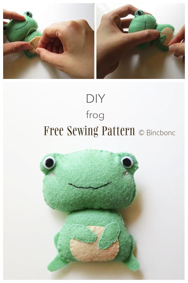 DIY Felt Frog Toy Free Sewing Patterns