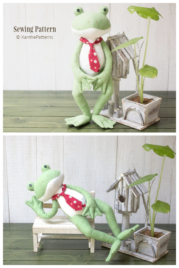 DIY Fabric Stuffed Frog Toy Sewing Patterns