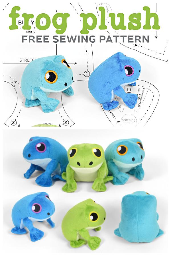 DIY Fabric Frog Plush Toy Free Sewing Patterns