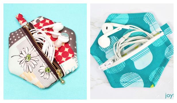 DIY Fabric Hexigon Zip Earbud Pouch Free Sewing Pattern + Video