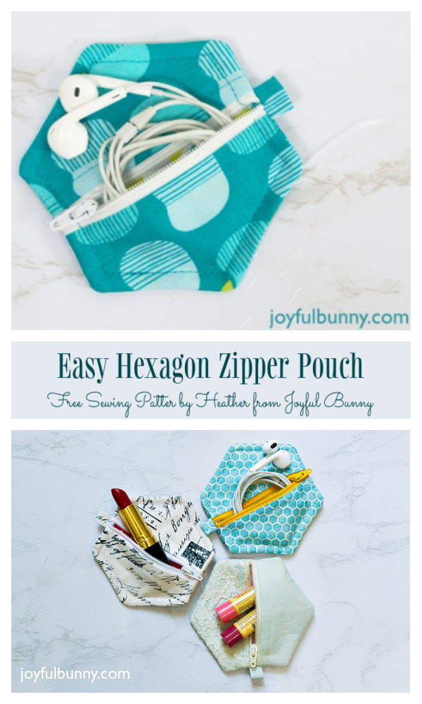 DIY Fabric Hexagon Zip Earbud Pouch Free Sewing Pattern + Video