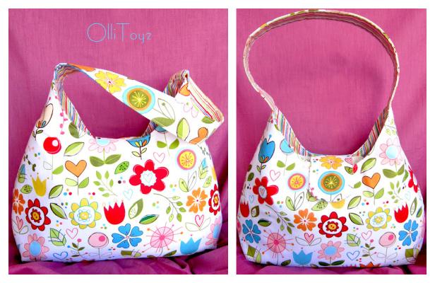 DIY Fabric One Strap Shoulder Bag Free Sewing Pattern