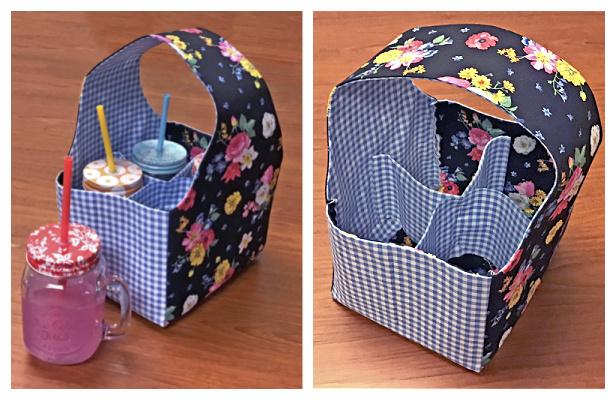 DIY Fun Fabric Drink Caddy Sewing Pattern + Free TUTORIAL