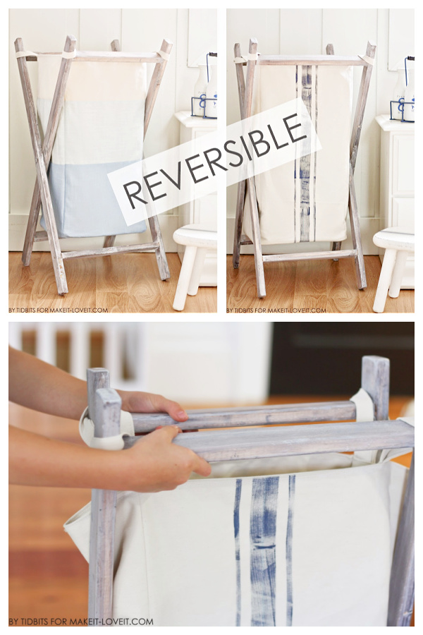 DIY Foldable Laundry Hamper Free Sewing Patterns with Frame Plan