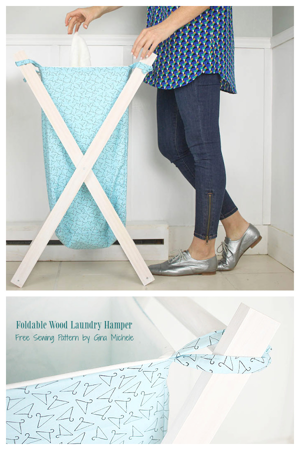 DIY Foldable Wood Laundry Hamper Free Sewing Patterns with Frame Plan