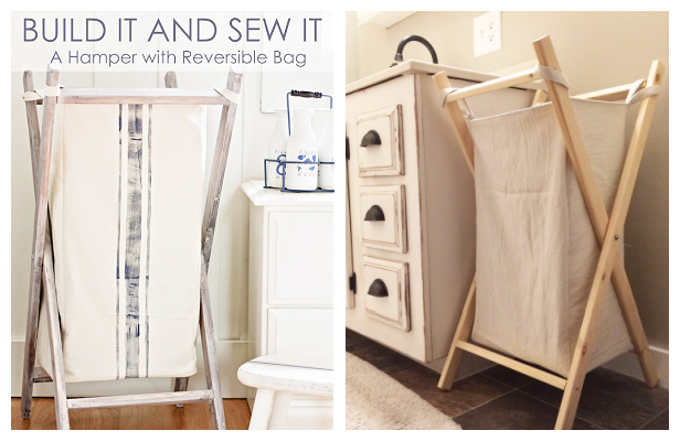 DIY Laundry Hamper Free Sewing Patterns with Frame Plan