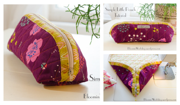 DIY Quilted Little Pouch Free DIY Tutorial - No Pattern Needed