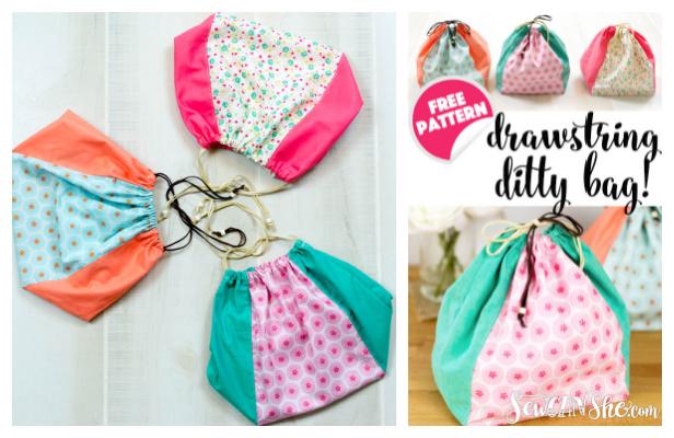 Drawstring Ditty Bag Free Sewing Pattern