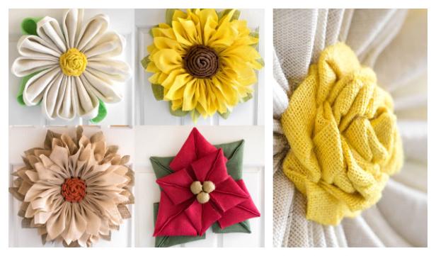 Easy 4-Season Burlap Flower Wreaths DIY Tutorial - No Sew