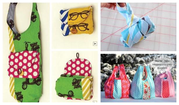 DIY Fabric Foldable Shopping Bag Free Sewing Patterns