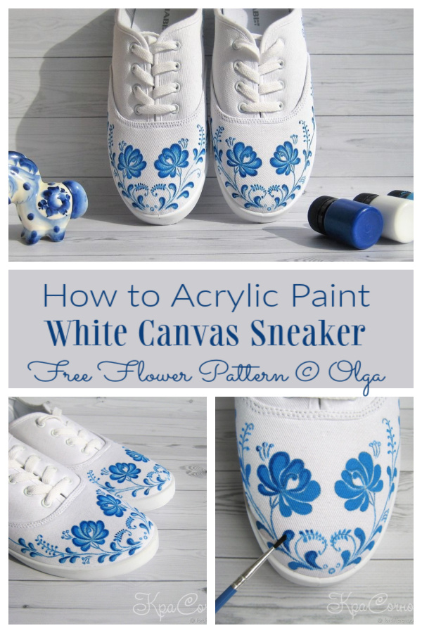 How to Customize Acrylic Paint White Canvas Sneakers - FREE FLOWER PATTERNS