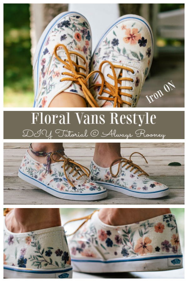 How to Customize Floral Van Restyle Iron ON Pattern on White Canvas Sneakers