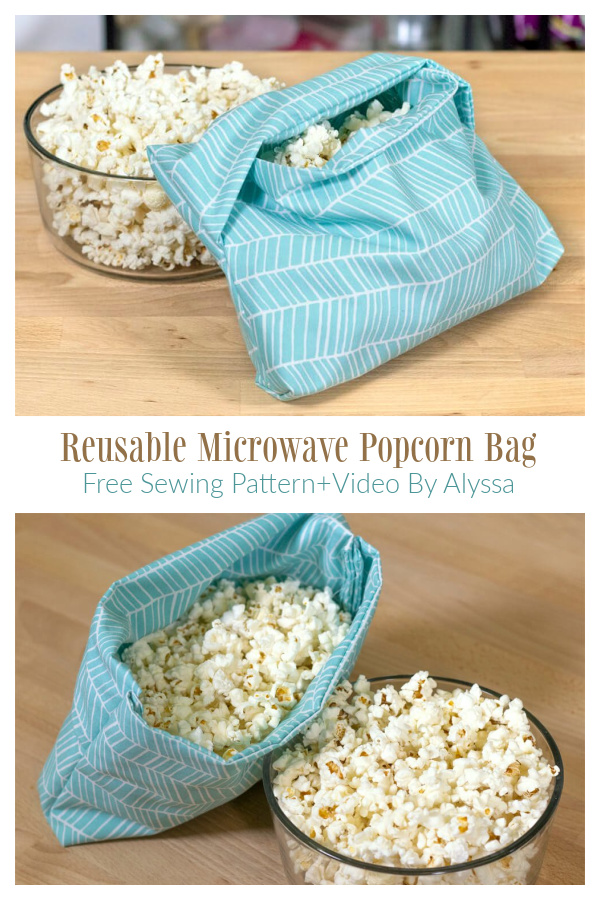 DIY Fabric Reusable Microwave Popcorn Bag Free Sewing Pattern