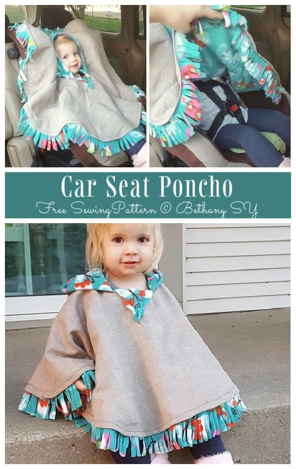 DIY Kids Car Seat Poncho Free Sewing Patterns