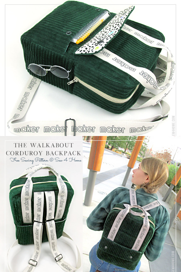 DIY Fabric Corduroy Backpack Free Sewing Pattern