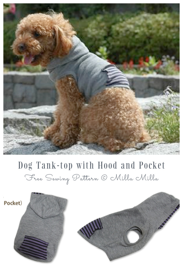 DIY Fabric Dog Tank-top with Hood and Pocket Free Sewing Patterns
