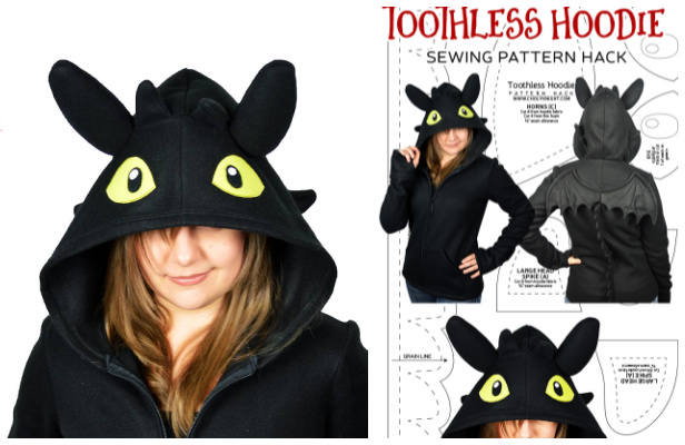 DIY Fabric Toothless Hoodie Free Sewing Pattern