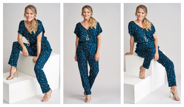 DIY Fabric V-Neck Jumpsuit Free Sewing Pattern