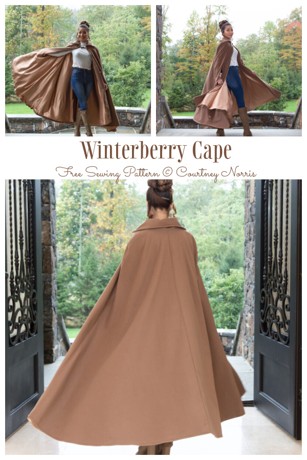 DIY Long Fabric Winterberry Cape Free Sewing Pattern