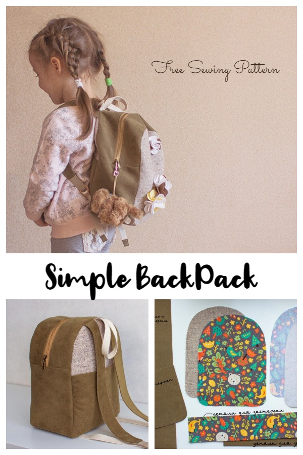 DIY Little Girl Fabric Backpack Free Sewing Pattern