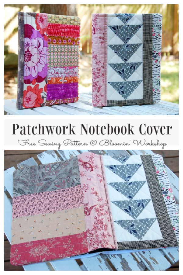 DIY Patchwork Notebook Cover Free Sewing Pattern