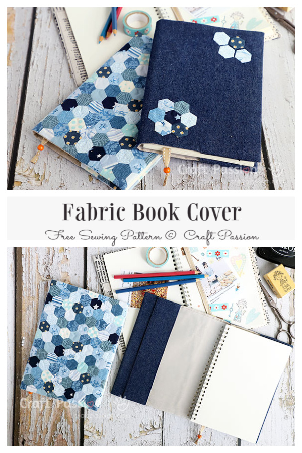 DIY Patchwork Honeycomb Book Cover Free Sewing Pattern