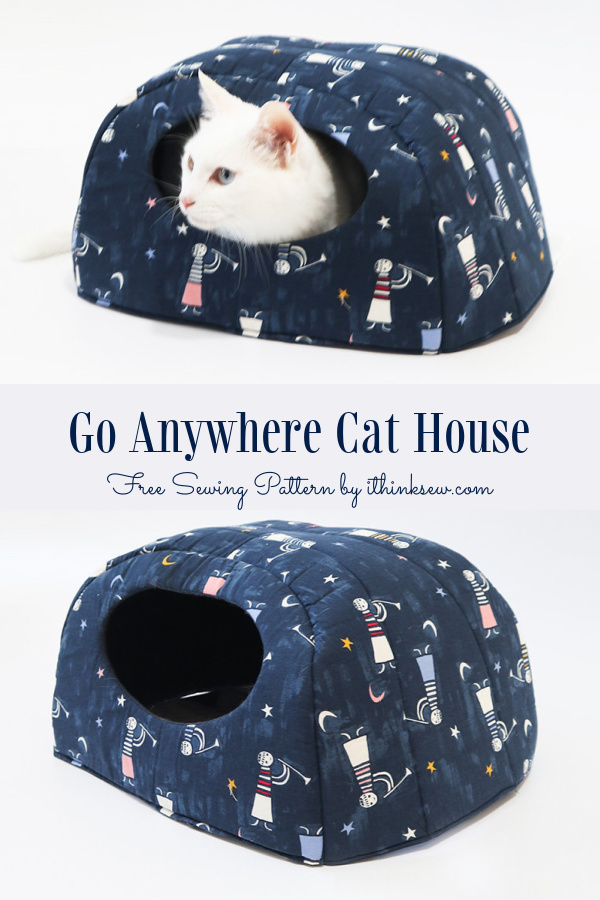 DIY Quilt Fabric Cat House Set Free Sewing Patterns + Video (2 sizes)