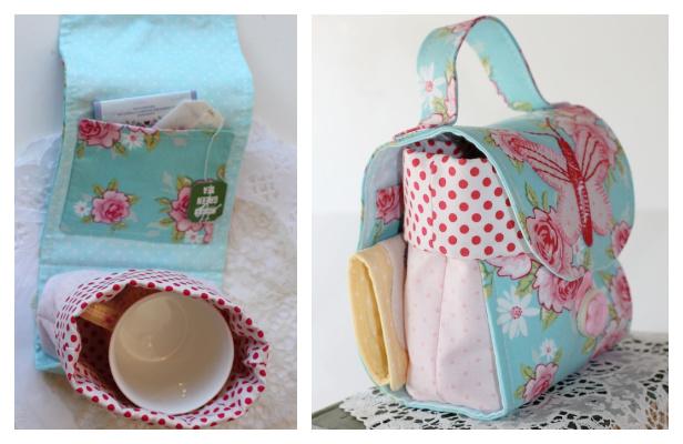 DIY Fabric Butterfly Mug Bag Free Sewing Pattern