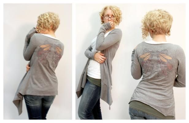 DIY Easy Recycled Shirt Drape Cardigan Free Sewing Pattern